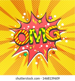 Vector pop art comics illustration of OMG letters, vector illustration isolated on cartoon pop art background with many dots and lights