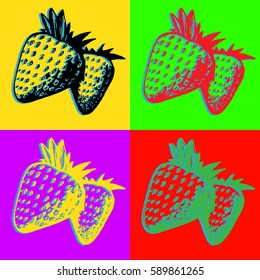 Vector pop art design strawberries.