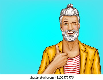 Vector pop art hipster with beard and stylish hairstyle winks and shows thumbs up gesture on blue background. Portrait of smiling positive man in casual clothes, poster for advertising, sale banners