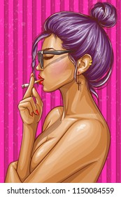 Vector pop art illustration of nude girl with closed eyes smoking cigarette. Sexy hipster woman in glasses on striped pink background. Female glamour character portrait, avatar for social networks
