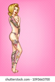 Vector pop art illustration of sexy tattooed girl with blonde hair, standing naked and covering herself with hands isolated on pink dotted background. Fashion model of body-art, tattoo hobby concept