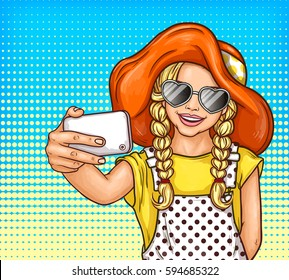 Vector pop art little girl in sunglasses and vintage hat makes selfie