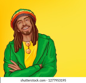 Vector pop art male character - smiling rasta guy with dreadlocks. Man from Jamaica in green jacket, bright cap isolated on yellow background. African rastafarian with beard, mustache, reggae person.