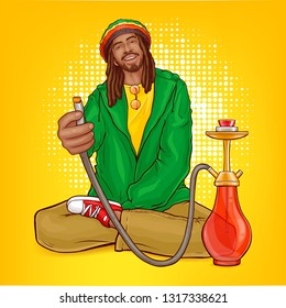 Vector pop art male character - rasta guy with dreadlocks suggests hookah. Man from Jamaica in green jacket, bright cap with calabash, hooka. African rastafarian with beard, mustache, reggae person.
