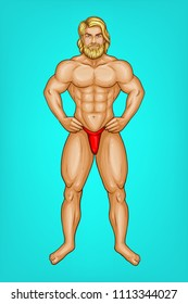 Vector pop art naked male character with great muscles in red underpants, g-string. Blonde bearded sportsman or striptease performer with nude body. Attractive athlete isolated on blue background