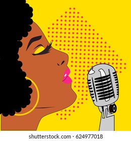 Vector pop art style illustration of Afro American woman star celebrity jazz singer  with vintage microphone.