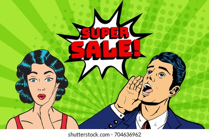 Vector pop art style super sale banner. Comic pop style man shouting above and happily surprised retro brunette woman. Huge red explosion sale sign above them. Concept of advertisement and promotion