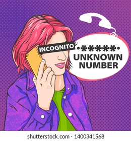Vector pop art woman ralking on phone, incognito person, unknown number, vector illustration in comics art style, hand drawn realistic illustration