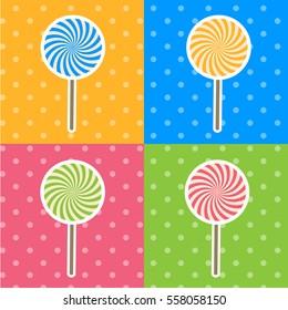 Vector Pop-art Style Lollipop Candies Set Illustration