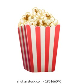 Vector popcorn box isolated on white