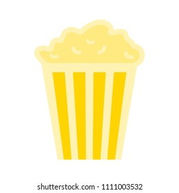 vector popcorn illustration isolated, movie cinema symbol - entertainment sign
