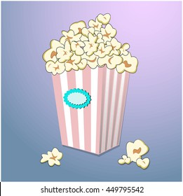 Vector popcorn in striped box on colorful background. Cartoon food illustration. Bright cinema meal print advertise.