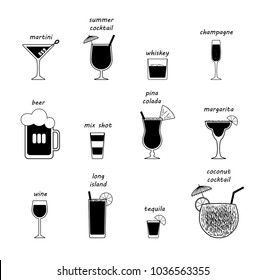 Vector popular drink types with every piece isolated. Names mentioned on top of each drink.