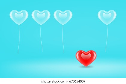 vector popular icon. blue heart shaped balloon in blue room. different red heart on floor. illustration concept of love