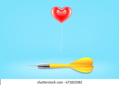 vector popular icon, red heart shaped balloon with yellow dart in blue room. illustration conquer mind target, concept of love