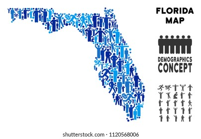 Vector population Florida map. Demography composition of Florida map organized of persons with different postures. Demographic map in blue hues.