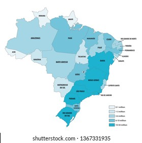 Vector population map of the Federative Republic of Brazil