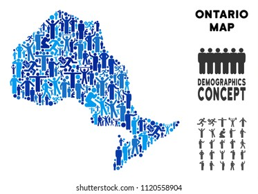 Vector population Ontario Province map. Demography abstraction of Ontario Province map constructed of men with variable positions. Demographic map in blue tinges.