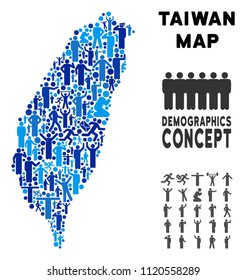 Vector population Taiwan Island map. Demography composition of Taiwan Island map created of people with different positions. Demographic map in blue hues.