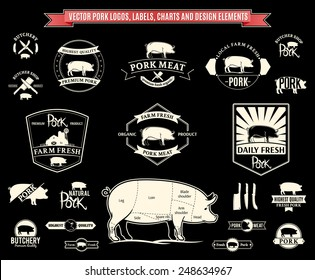 Vector Pork Logos, Labels, Charts and Design Elements