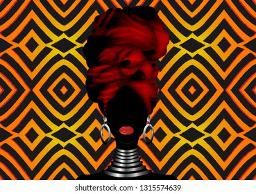Vector Portrait African woman in traditional striped turban, Kente head wrap, dashiki printing, black afro women vector silhouette ethnic zebra decoration cloth, African Print fabric geometric batik