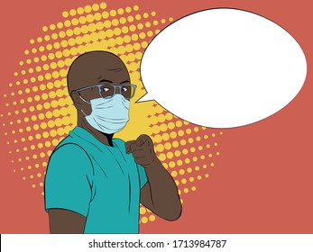 Vector portrait of bald african american man in medical mask pointing at you with finger. Pop art illustration