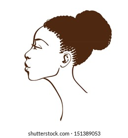 Vector portrait of beautiful African American woman in line art style. Side view