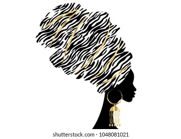Vector Portrait beautiful African woman in traditional turban, Kente head wrap, dashiki printing, black afro women vector silhouette Africa batik, ethnic zebra decoration cloth, hairstyle concept logo