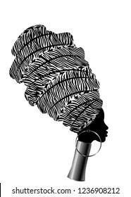 Vector Portrait beautiful African woman in traditional turban, Kente head wrap, dashiki printing, black afro women vector silhouette Africa batik, ethnic zebra decoration cloth, hairstyle concept logo