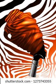 Vector Portrait beautiful African woman in traditional turban, Kente head wrap, dashiki printing, black afro women vector silhouette Africa batik, ethnic zebra decoration cloth, Safari concept logo