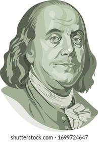 Vector portrait of Benjamin Franklin in front of the one hundred dollar bill