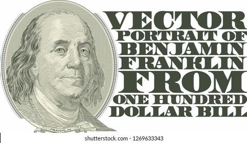 Vector Portrait of Benjamin Franklin from one hundred dollar bill