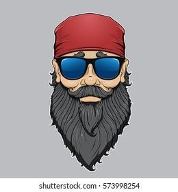 Vector portrait of a brutal, funny, bearded biker in red bandana