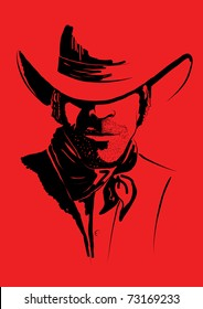Vector portrait of cowboy on red.Strong man in cowboy hat