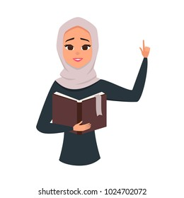 Vector portrait of cute brunette arab woman reading book.Student learning illustration. Arab girl with her hand up as asign of attention