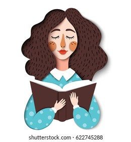 Vector portrait of cute brunette girl reading book. Beautiful woman in the modern design of realistic graphic paper. Student learning illustration. Creative paper art, education concept
