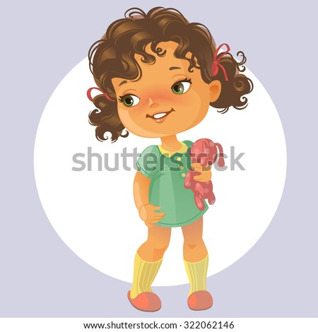fe9d7fb485b Vector portrait of cute little girl with curly brown hair wearing green  dress holding teddy bear