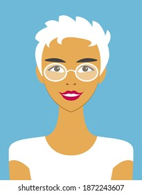 Vector portrait of a cute smiling girl with glasses with short white hair in a t-shirt close-up isolated