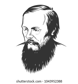 Vector portrait Dostoevsky Fyodor Mikhaylovich, illustration.