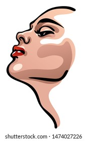 Vector portrait drawing of profile young beautiful Caucasian woman. Sexy, elegant and attractive supermodel. Simple colorful drawing on white background, isolated. Fashion illustration.