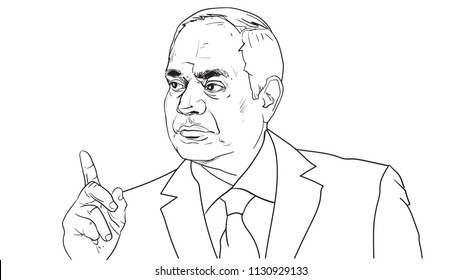 Vector portrait of Egypt president Abdel Fattah el-Sisi, as known Sisi, line art drawing sketchy illustration
