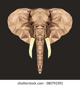Vector portrait of elephant  polygonal. Triangle illustration of animal for use as a print on t-shirt and poster. Geometric low poly elephant design. African animal living in reserve or national park.