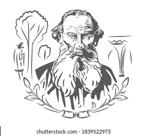 Vector portrait of the famous writer Leo Tolstoy. On a white background is the author, silhouettes of trees, branches, arches.