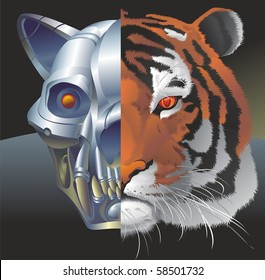 Vector portrait of fantastic creature an android-tiger