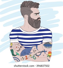 Vector portrait of fashion bearded man sailor with old school tattoo. Hand drawn.