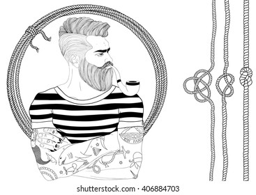 Vector portrait of fashion bearded man sailor with old school tattoo and smoke pipe. Hand drawn. Marine rope and knot. Black and white