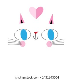Vector portrait of funny cat in love on white background