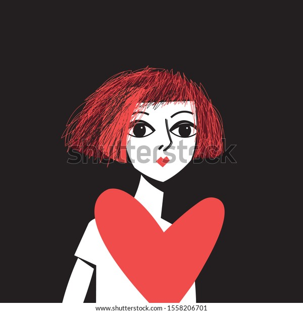 Vector portrait of a girl in love with a heart on a dark background