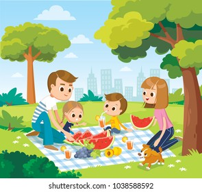 Vector portrait of happy family of 4 four members relaxing on picnic on blanket parents mom dad and 2 two children kids son daughter spending time having meal food weekend