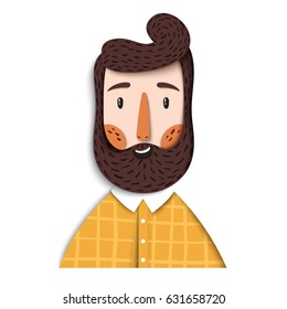 Vector portrait of hipster bearded man. Cool happy guy in the modern design of realistic graphic paper
